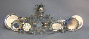 Large group of silver plate and weighted silver