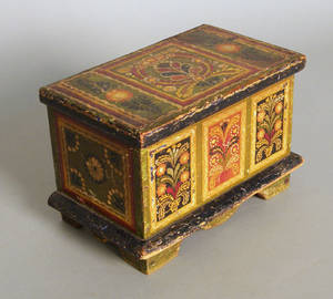 Continental painted pine trinket box