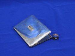 Mappin  Webb Sterling Silver and Diamond Cigarette Case and a Gold Band