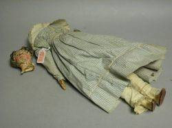 Early Papiermache Shoulder Head Doll in Original Dress