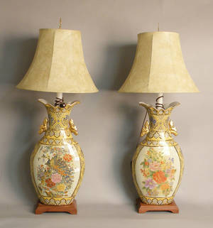 Pair of oriental painted porcelain table lamps