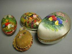 Four Cardboard Easter Egg Candy Containers