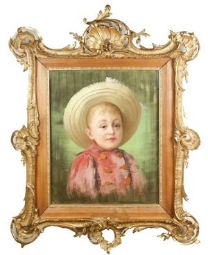 Late 19th C French Pastel Portrait of Young Boy