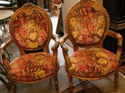 Pair of Louis XVI Style Upholstered Giltwood Carved Open Armchairs