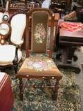 Queen Anne Needlepoint Upholstered Maple Side Chair