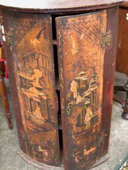 Chinoiserie Decorated TwoDoor Corner Cabinet