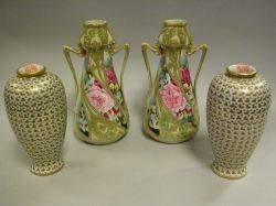 Pair of Nippon Handpainted Gilt and Floral Decorated Porcelain Vases and a Pair of Japanese Porcelain Vases