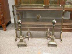 Pair of Bradley  Hubbard Arts and Crafts Hammered Brass Andirons and a Firescreen