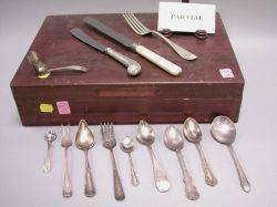 Fiftynine Pieces of Assorted Sterling Silver and Plated Flatware