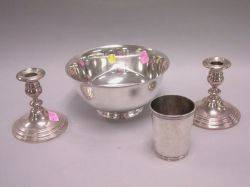 Reed  Barton Sterling Silver Revere Bowl Frank W Smith Sterling Beaker and a Pair of Gorham Sterling Candleholders