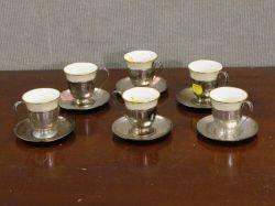 Set of Six Sterling Silver Demitasse Frames and Saucers with Lenox Gilt Porcelain Inserts