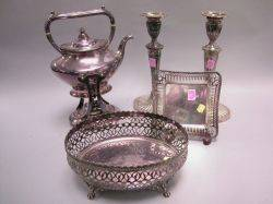 Gorham Electroplate Reticulated Basket a Dish Kettle on Stand and a Pair of Georgianstyle Candlesticks