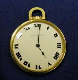 Art Deco 18kt Gold Openface Pocket Watch Tiffany  Co