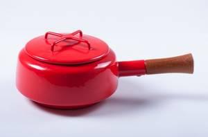 Dansk Kobenstyle Modern Red Enamel Pot w Lid