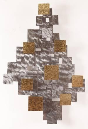Brutalist Modern Brass  Steel Wall Sculpture