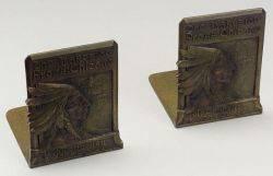 Rare Tiffany Studios The Lakeside Press Chicago Bronze Bookends
