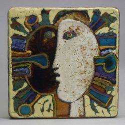 Square Abstract Figural Ceramic Wall Plaque