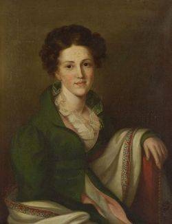 Continental School 19th Century Portrait of a Young Woman in Green
