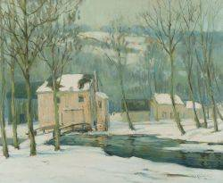 Walter Koeniger GermanAmerican 18811943 Woodland Cottages Winter