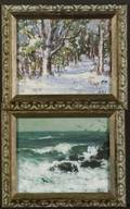 Henry Curtis Ahl American b 1905 Lot of Two Landscapes Including Path to the Woods Winter