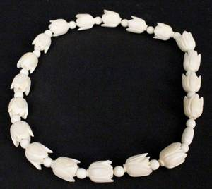 Ivory Carved Floral Necklace