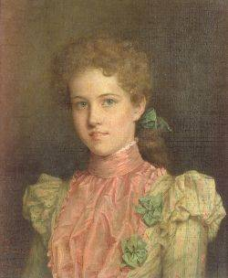 Jennie Brownscombe American 18501936 Portrait of a Young Woman in Pink and Green