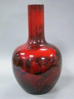Large Royal Doulton Flambe Glazed Scenic Pottery Vase