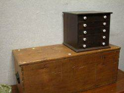 Pine SixBoard Storage Chest and a Small Walnut FiveDrawer Sewing Cabinet