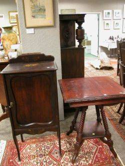 Mahogany Music Cabinet and a Late Victorian Carved Mahogany Occasional Table