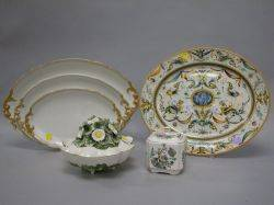 Set of Three Limoges Porcelain Platters an Italian Faience Platter and Two Covered Boxes