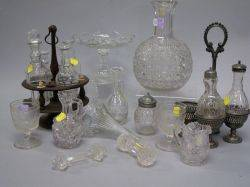 Lot Colorless Pressed and Cut Glass Table Items