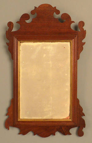 Chippendale walnut looking glass