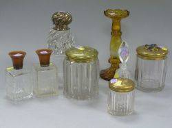 Three Dresser Bottles a Cut Glass Perfume Bottle Two Glass Humidors a Sterling Silver Mounted Crystal Inkwell and a Bohemian Etched