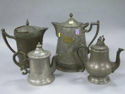 Four Pewter Tea and Coffee Pots