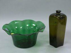 Olive Glass Gin Bottle and a Blown Green Glass Bowl