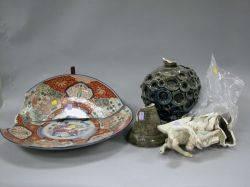 German Porcelain Figure Art Pottery Vase and an Imari Charger