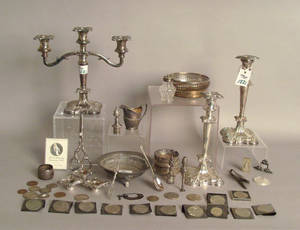 Miscellaneous group of silver and plate to include coins