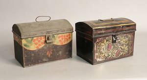 Two toleware document boxes