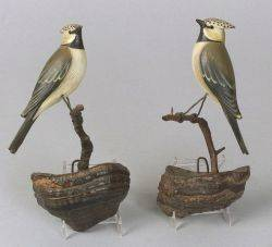 Pair of Carved and Painted Birds