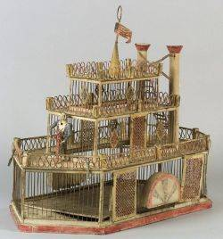 Painted Tin and Wirework Riverboat Birdcage