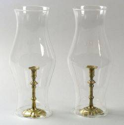 Pair of Brass Candlesticks with Glass Shades