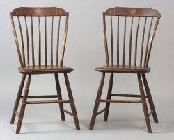 Pair of Windsor Paint Decorated Side Chairs