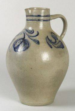 Cobalt Blue Decorated Stoneware Pitcher