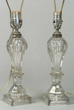 Pair of Colorless Cut Glass Fluid Lamps