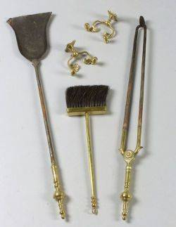 Pair of Brass and Iron Fire Tools and a Pair of Brass Jamb Hooks