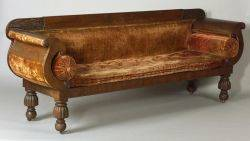 Classical Mahogany Carved and Mahogany Veneer Sofa