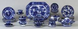 Large Set of Flow Blue Decorated Ironstone Tableware