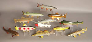 Group of 12 contemporary fish decoys
