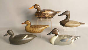 Group of five duck decoys
