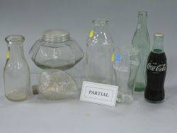 Group of CocaCola Bottles and Glasses Canning Jars Milk Bottles a Promotional Mug and Jars